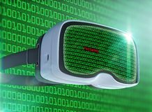 Virtual reality glasses, futuristic hacker, internet technology and network concept Stock Photo