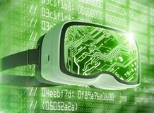 Virtual reality glasses, futuristic hacker, internet technology and network concept Royalty Free Stock Images