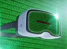 Virtual reality glasses, futuristic hacker, internet technology and network concept Stock Photography