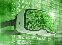 Virtual reality glasses, futuristic hacker, internet technology and network concept Royalty Free Stock Photography