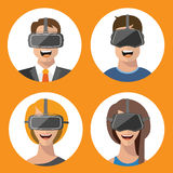 Virtual reality glasses man and woman flat icons stock photo
