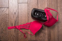 Virtual reality glasses for mobile devices with women lingerie a