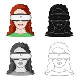 Virtual reality glasses single icon in cartoon,black,outline style for design.Car maintenance station vector symbol. Stock  illustration Stock Image