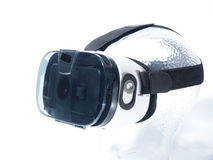 Virtual Reality Glasses on Transparent Glass Head. With white background Stock Photography