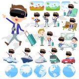 Virtual reality goggle men_travel. Set of various poses of virtual reality goggle men_travel Royalty Free Stock Photography