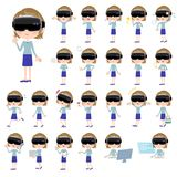 Virtual reality goggle women_1 Royalty Free Stock Image