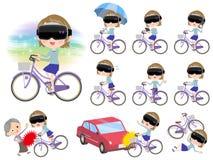 Virtual reality goggle women_city bicycle Stock Photos