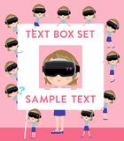 Virtual reality goggle women_text box Royalty Free Stock Photo