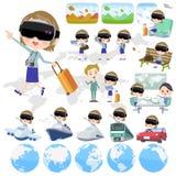 Virtual reality goggle women_travel Stock Image