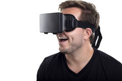 Virtual Reality Goggles. Caucasian model wearing a virtual reality headset on a white background Royalty Free Stock Image