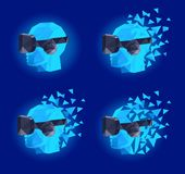 Virtual reality goggles low poly design stock illustration