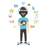 Virtual reality goggles. Man with virtual reality headset goggles. Sign set web media and play. VR concept Vector cartoon illustration Stock Image