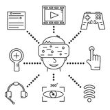 Virtual reality goggles, set of linear icons. On white background Stock Images