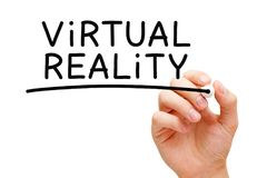 Virtual Reality Handwritten With Black Marker Royalty Free Stock Images
