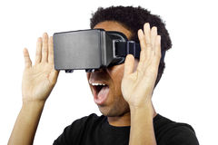 Virtual Reality Headset on Black Male Stock Images