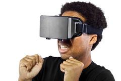 Virtual Reality Headset on Black Male Stock Photo