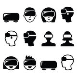 Virtual reality headset for 3D gaming, viewing icons Stock Photography