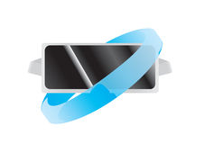 Virtual Reality headset 360 Degree View. Blue and black Royalty Free Stock Images