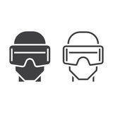 Virtual reality headset line icon, outline and solid vector sign Royalty Free Stock Photo