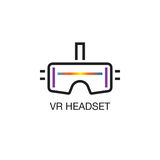 Virtual reality headset line icon, outline vector logo illustration, linear pictogram isolated on white. Virtual reality headset line icon, outline vector logo royalty free illustration