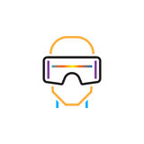 Virtual reality headset line icon, vr glasses outline vector logo illustration, linear pictogram isolated on white. Virtual reality headset line icon, vr stock illustration
