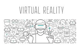 Virtual reality headset man poster Royalty Free Stock Image