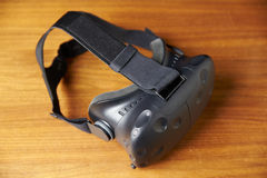 Virtual Reality Headset On Wooden Background Royalty Free Stock Photos