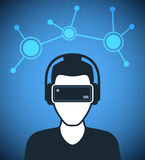 Virtual reality icon, men with glasses and headset Royalty Free Stock Photo
