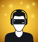 Virtual reality icon, men with glasses and headset Stock Images