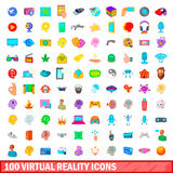 100 virtual reality icons set, cartoon style. 100 virtual reality icons set in cartoon style for any design vector illustration Royalty Free Stock Images