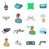 Virtual reality icons set, cartoon style Royalty Free Stock Photography