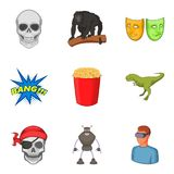 Virtual reality icons set, cartoon style. Virtual reality icons set. Cartoon set of 9 virtual reality vector icons for web isolated on white background Stock Photography