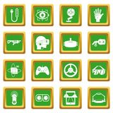 Virtual reality icons set green Royalty Free Stock Images