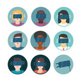 Virtual Reality. Icons set with people. Stock Photography