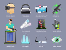 Virtual reality icons set Royalty Free Stock Image