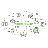 Virtual reality icons. VR icon set. Abstract circle. Line style thin and thick outlines vector. Glasses, headset, helmet, 360 degrees icon, joystick and other Royalty Free Stock Photos