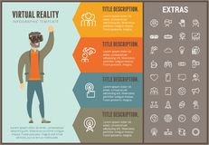 Virtual reality infographic template and elements. Virtual reality infographic options template, elements and icons. Infograph includes line icon set with Royalty Free Stock Images
