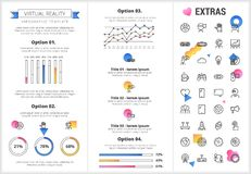 Virtual reality infographic template and elements. Virtual reality infographic template, elements and icons. Infograph includes customizable graphs, four Royalty Free Stock Images