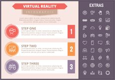 Virtual reality infographic template and elements. Virtual reality infographic timeline template, elements and icons. Infograph includes step number options Royalty Free Stock Photos