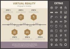 Virtual reality infographic template and elements. Virtual reality infographic timeline template, elements and icons. Infograph includes step number options Royalty Free Stock Image