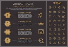 Virtual reality infographic template and elements. Virtual reality infographic timeline template, elements and icons. Infograph includes numbered options, line Stock Photos