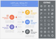 Virtual reality infographic template and elements. Virtual reality infographic timeline template, elements and icons. Infograph includes numbered options with Royalty Free Stock Photos