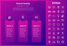 Virtual reality infographic template and elements. Virtual reality options infographic template, elements and icons. Infograph includes line icon set with Royalty Free Stock Image