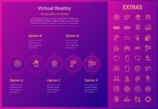 Virtual reality infographic template and elements. Virtual reality options infographic template, elements and icons. Infograph includes line icon set with Stock Image