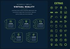 Virtual reality infographic template and elements. Virtual reality options infographic template, elements and icons. Infograph includes line icon set with Stock Images