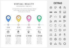 Virtual reality infographic template and elements. Virtual reality timeline infographic template, elements and icons. Infograph includes options with years Stock Images