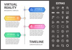 Virtual reality infographic template and elements. Virtual reality timeline infographic template, elements and icons. Infograph includes options with years Stock Photos
