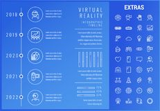 Virtual reality infographic template and elements. Virtual reality timeline infographic template, elements and icons. Infograph includes options with years Royalty Free Stock Images
