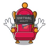 Virtual reality king throne mascot cartoon. Vector illustration royalty free illustration