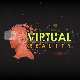 Virtual reality. Lettering with futuristic user interface elements. Royalty Free Stock Photography